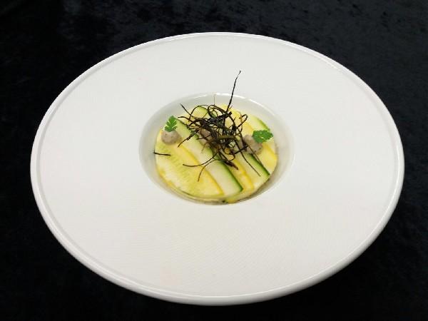 Carpaccio de courgettes et crémeux d'aubergine